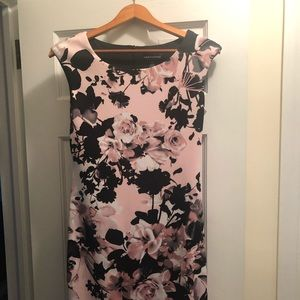 Size 6 black and pink floral dress